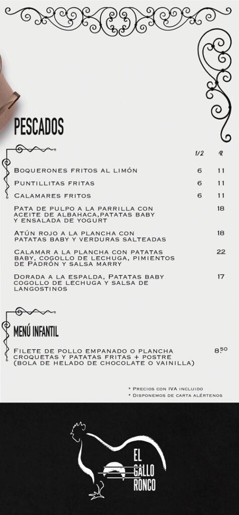Carta Menu Restaurante El Gallo Ronco